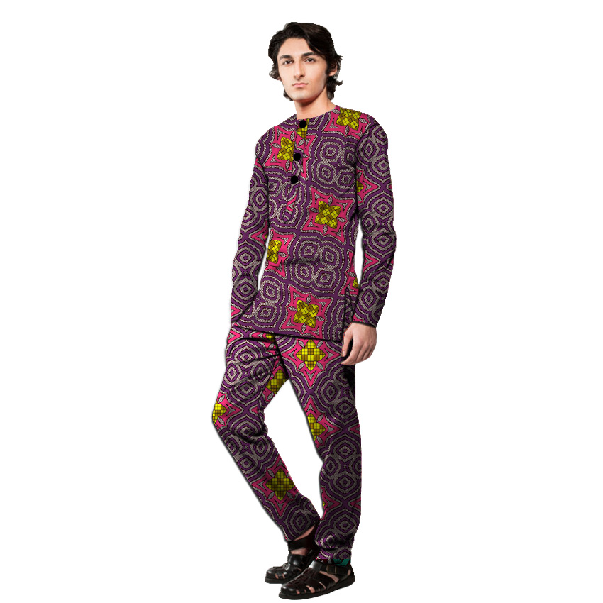 African Clothing Men's Pant Sets Long Sleeve Shirt With Trouser Ankara Fashion Suits Customized Wedding Man Groom Outfits
