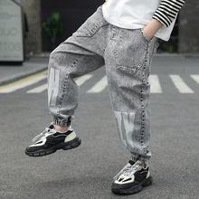 Korean Chidren Boys Jogger Pants Letter Print Grey Jeans Trousers for Teenage Spring Autumn Long Pant Kids Clothes 4-14Years Old