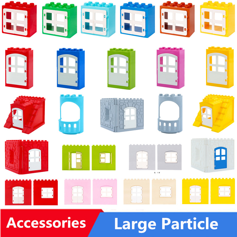 Diy Big Size Building Blocks Bulk Parts Model Window Doors Household Accessories Compatible With Duploed Toys For Children Gift