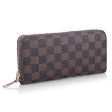 2020 New Luxury Grid Vegan Leather Wallet Seat Coin Zipper