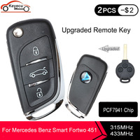 KEYECU Upgraded Flip Remote Car Key Fob 3 Button 315/433MHz PCF7941 for Benz Smart Fortwo 451 2007 2008 2009 2010 2011 2012 2013