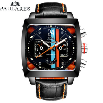 Automatic Self Wind Mechanical Genuine Leather Stainless Steel Black Orange Blue Casual Perspective See Through Men Watch 1