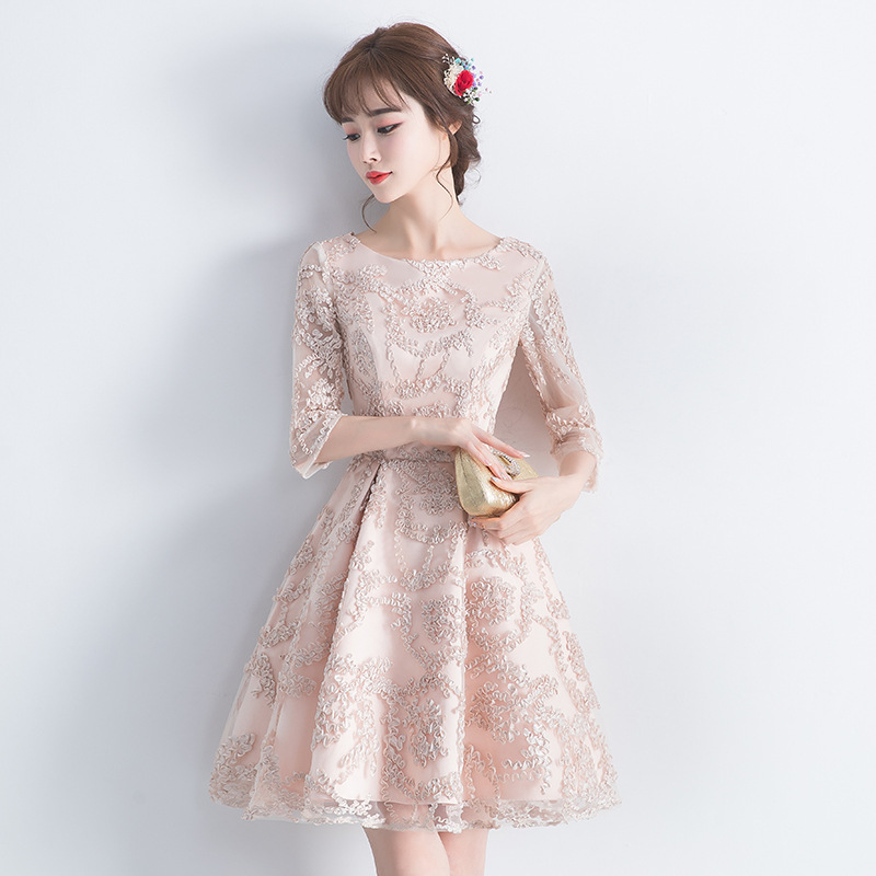Evening Gown 2018 New Style Autumn And Winter Banquet Short Small Dress Women's Debutante Party Dress Party Bridesmaid Dress