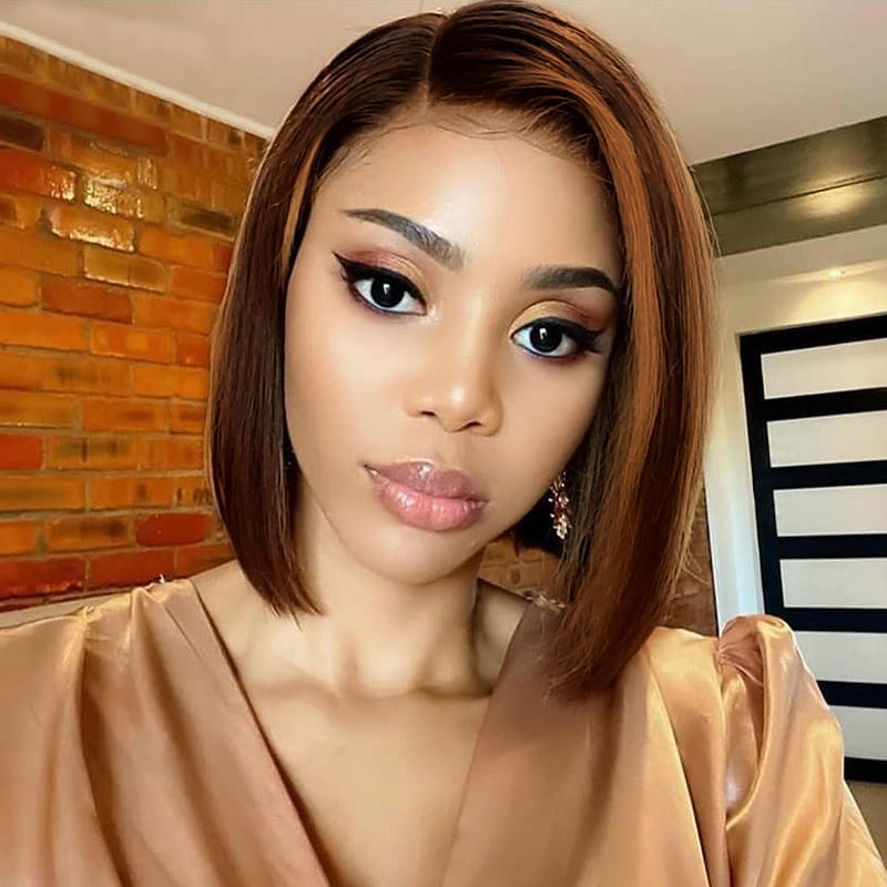 13X4 Frontal Lace  Wigs  Piano 4/27 Color Straight Bob Wig Pre Plucked Ombre Lace Frontal Wigs With Baby HaIr 1