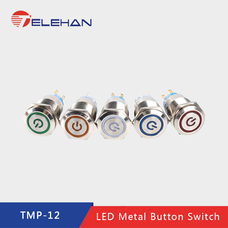 TELEHAN Push Button, push button switch,12mm metal switch, momentary button, led  switch