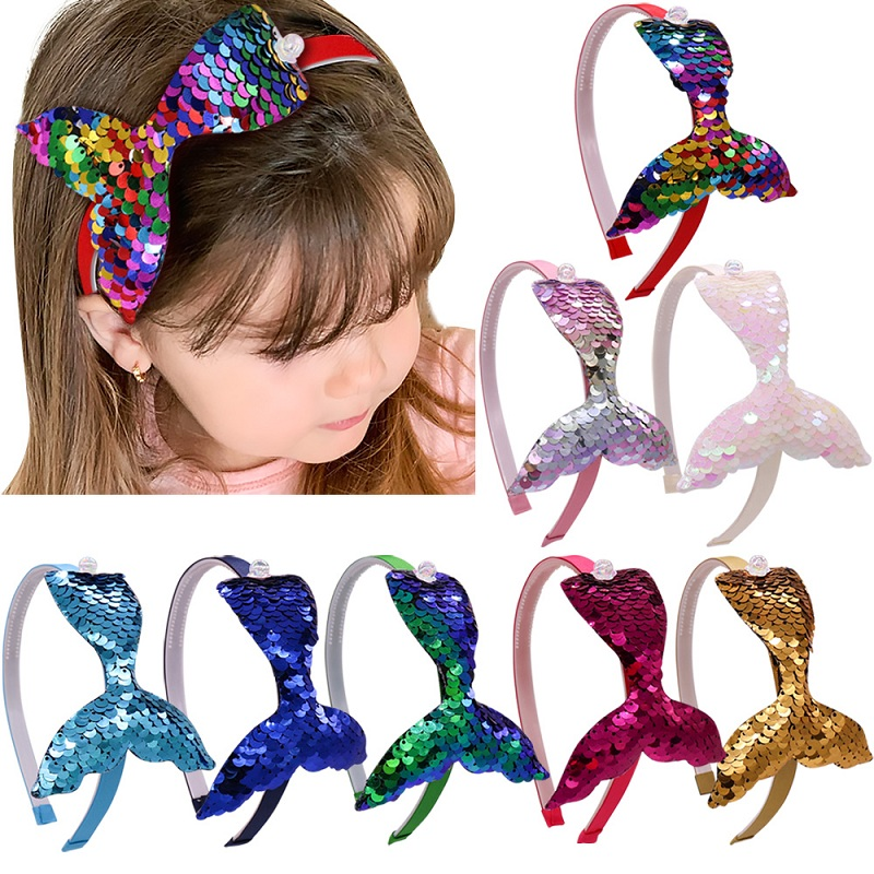 1Pc Sequin Mermaid Headband Baby Girls Hair Accessories Handmade Rainbow Kids Hairband Little Mermaid Party Supplies Headdress