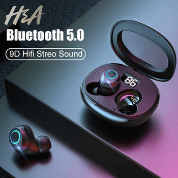 H&A Wireless Earphones Bluetooth V5.0 Earphone Mini TWS Wireless Bluetooth Headphones Hifi StereoTouch Control Handfree Headset - DISCOUNT ITEM  40% OFF All Category