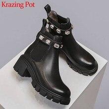 Krazing Pot Botines de piel auténtica con tacón alto y punta redonda para mujer, botas cálidas y lisas con hebilla de cristal brillante, para invierno, L8f1