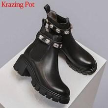 Krazing Pot moda parlak kristal toka hakiki deri yuvarlak ayak yüksek topuklu güzellik bayan kış katı sıcak yarım çizmeler L8f1