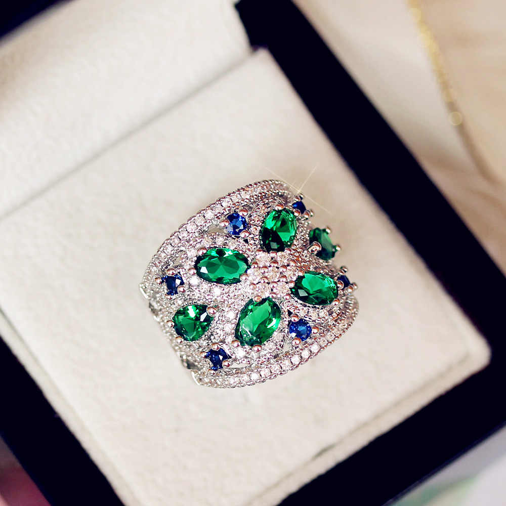 Sapphire Jewelry Fashion Princess Green Emerald Jadeite Zircon Silver Color Engagement Lover Gift Luxury wedding Party 925 rings