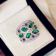 Sapphire Jewelry Fashion Princess Green Emerald Jadeite Zircon Silver Color Engagement Lover Gift Luxury wedding Party 925 rings(China)