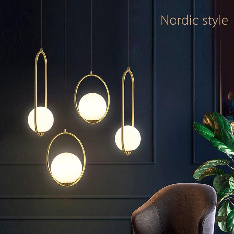 Image 2 - الشمال كرة زجاجية قلادة أضواء الحديثة الصناعية مصباح معلق مصباح بريق فاخر Glod الفن المطبخ فندق هوب ديكو قلادة مصباحأضواء قلادة   -