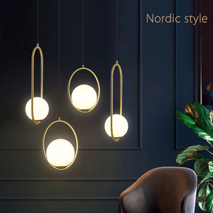 Image 2 - נורדי זכוכית כדור תליון אורות מודרני Industriel מנורת תליית מנורה זוהר יוקרה Glod אמנות מטבח מלון חישוק דקו תליון מנורה