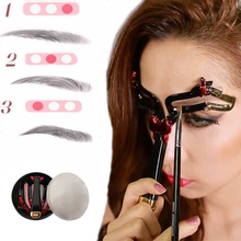 Adjustable Reusable 3 in1 Eyebrow Helper Shaping Template Eyebrow Groo