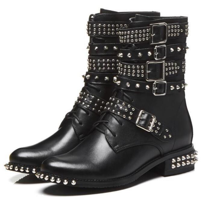 Botas de cuero tachonadas con remaches para motocicleta con hebilla de punta redonda para mujer botas al tobillo estilo punk botas de montar - 2