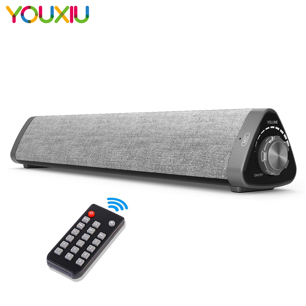 YOUXIU Bluetooth Sound Bar Wireless Stereo Speakers with Remote Control Subwoofers Soundbar for TV/Phones/home theater