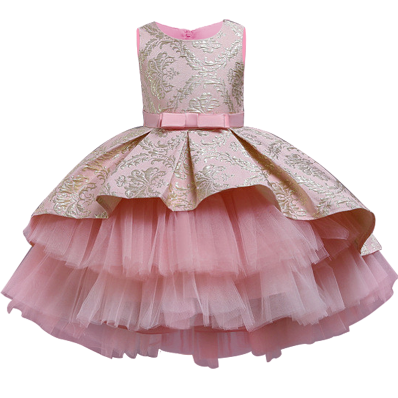 2020 Formal Evening Wedding Gown Retro Big Bow Tutu Princess Dress Flower Girls Children Clothing Kids Party For Girl Clothes