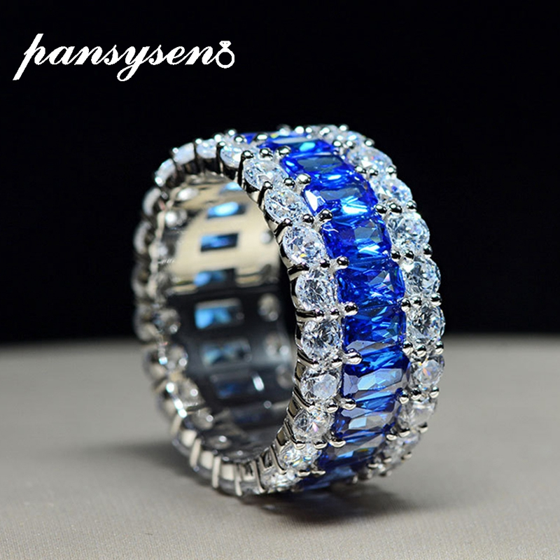 PANSYSEN Top Brand Sparking Shining Pink blue white Sapphire Gemstone Rings Women Couple Anniversary 925 Sterling Silver Ring