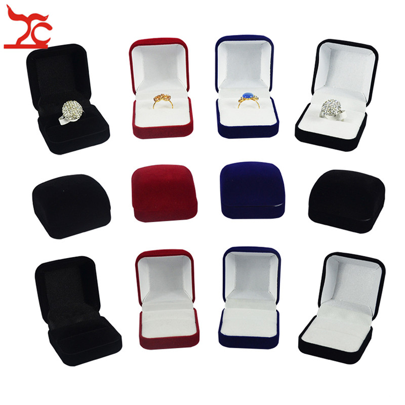 Hot Sale  Blue Red Black Blocked Jewelry Package Box 4 Color Available Ring Stud Earrings Jewelry Organizer Storage Gift Box