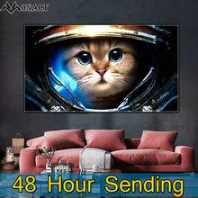 Холст постер астронавт кошка прикроватная картина животные настенные