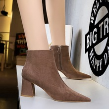 Europe Fashion Flock Ankle Boots Women Solid Winter Pointed Toe Side Zip 6.5CM Thick Heels Boots Ladies Club Short Plush Booties цены онлайн