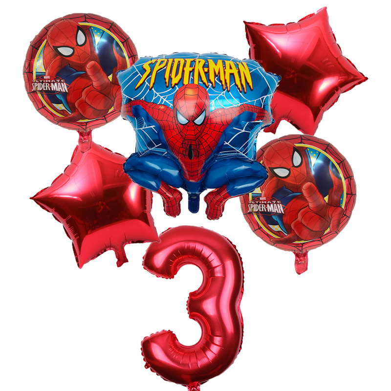 6pcs/lot Spiderman Balloon 32inch Number Spiderman Party Inflatable Helium Balloons Birthday Party Decoration Kids Ballon Globos