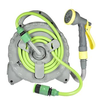 Retractable Garden Hose Reel Portable Hose Reel Irrigation Set for Home Gardening Watering Flowers, Car Washing and Cleaning