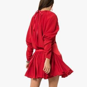 Image 2 - Twotwinstyle vestido feminino babado, patchwork vestidos femininos gola redonda manga comprida cintura alta ruched moda feminina 2020 roupa de maré