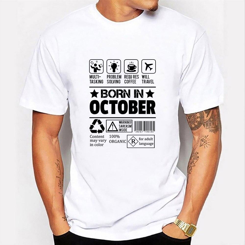 Графические футболки со смешным принтом рожденных в октябре с коротким рукавом и О-образным вырезом из плотной шерстяной ткани; Модная повс...