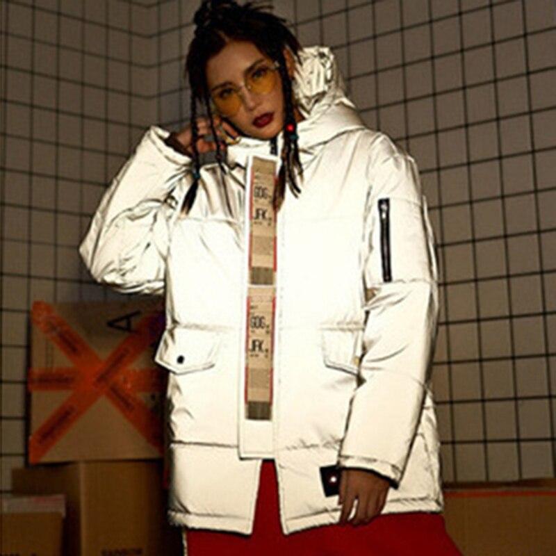 2019Winter Warm Long Reflective Jacket Women Luminous Casual Coat  Hip Pop Big Pocket Streetwear Thick Loose Glowing Parka