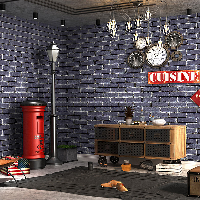 3D Antique Brick Wall Wallpaper PVC Waterproof Barber Shop Restaurant Clothing Store Living Room Wall Decoration Vinyl Wallpaper