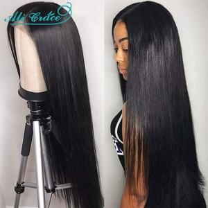 Прямые парики Ali Grace на сетке, парик с застежкой 4X4, парики из человеческих волос, натуральные волосы, перуанские парики из человеческих волос...
