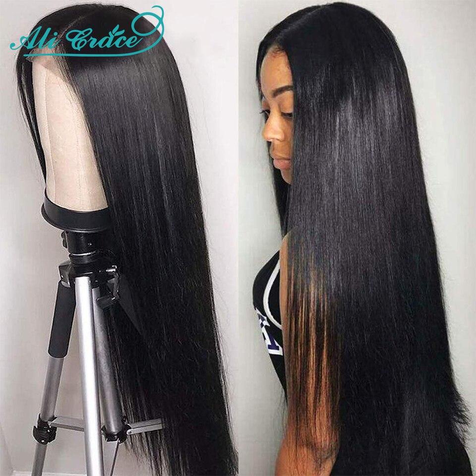 Ali Grace droit dentelle fermeture perruques 4X4 fermeture perruque perruques de cheveux humains naturel délié péruvien 13X4 dentelle avant perruques de cheveux humains