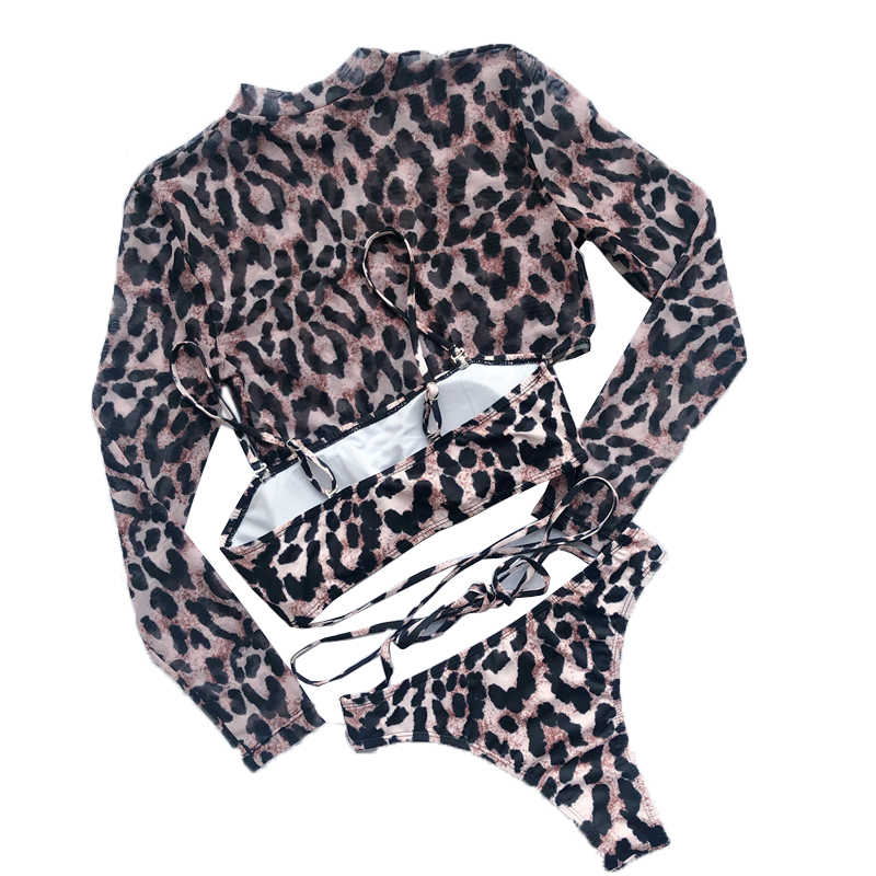 Europeu e americano sexy leopardo impressão de três peças biquíni malha manga longa à prova de sol maiô com almofada praia maiô