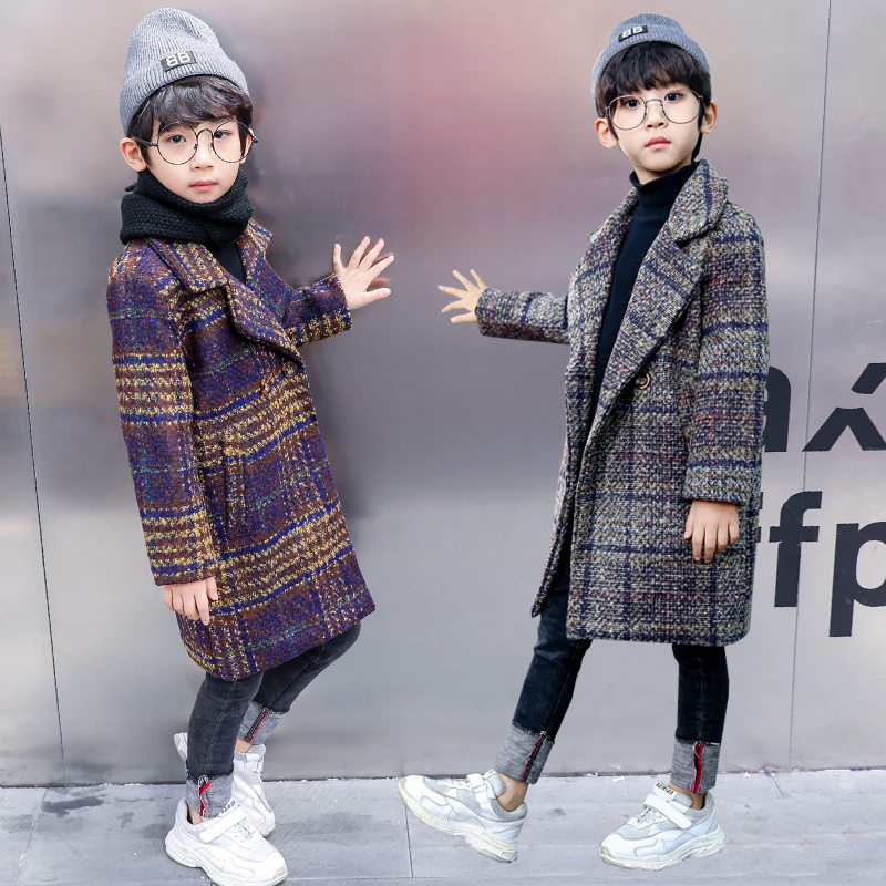 Teenager Wool Coat For Boys Long Thick Plaid Overcoat Winter Kids Boy Warm Woollen Jackets For Childrens High Quality 5-13 Years