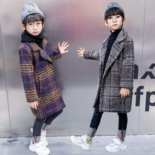 Teenager Wool Coat for Boys Long Thick Plaid Overcoat Winter Kids Boy Warm Woollen Jackets Childrens High Quality 5-13 Years