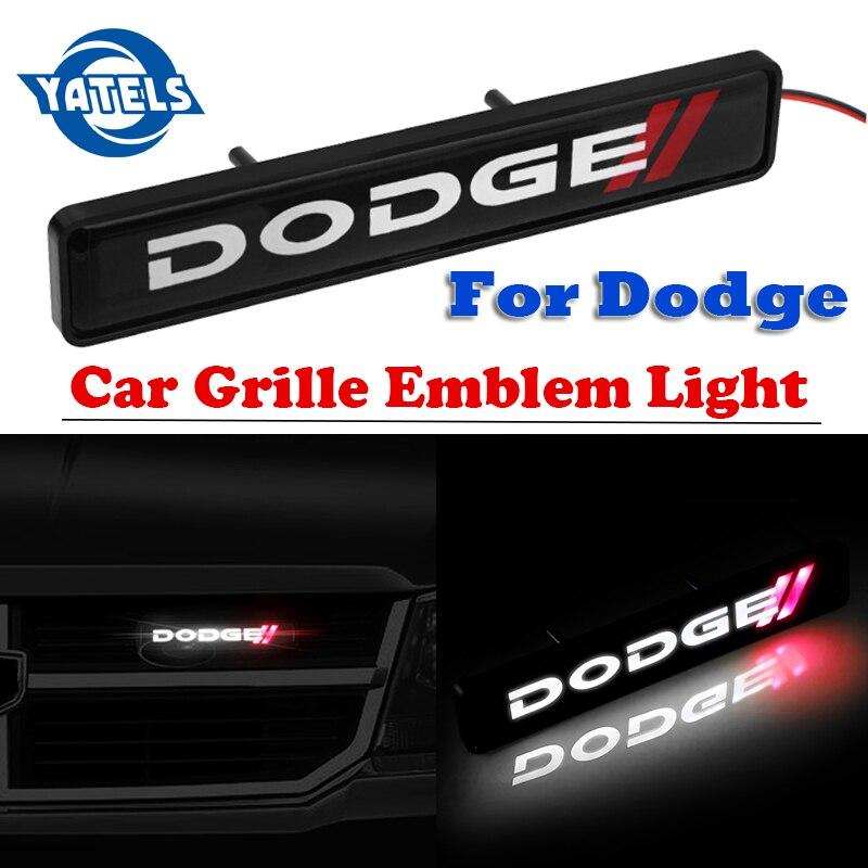 3D Car Logo Sticker ABS Chrome Grille Logo Badge LED Decoration Lights For Dodge Caliber Ram 1500 Caravan Charger Grand Caravan Journey