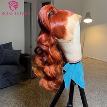 Wig Lace-Wig Ginger Human-Hair Orange Natural 13X6 Hairline Body-Wave Transparent 28inch