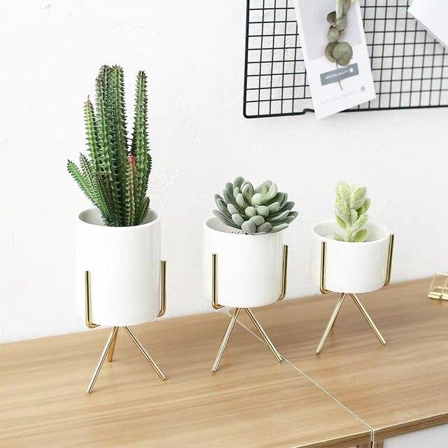 Фото керамический цветочный горшок в скандинавском стиле 3 шт подставка цена