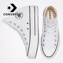 HOT Converse Chuck Taylor All Star Platform Clean High Top Low Heel Black Sneakers Women Shoes Casual Fashion 35-44