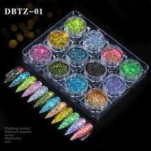 12 Stks/set Nail Glitter Powder Dust Iriserende Vlokken Pailletten Goud Zilver Super Shining Paillette Nail Art Manicure Decoraties