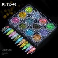 12 pz/set Nail Glitter polvere polvere iridescente fiocchi paillettes oro argento Super brillante Paillette Nail Art Manicure decorazioni