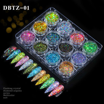 12pcs/set Nail Glitter Powder Dust Iridescent Flakes Sequins Gold Silver Super Shining Paillette Art Manicure Decorations