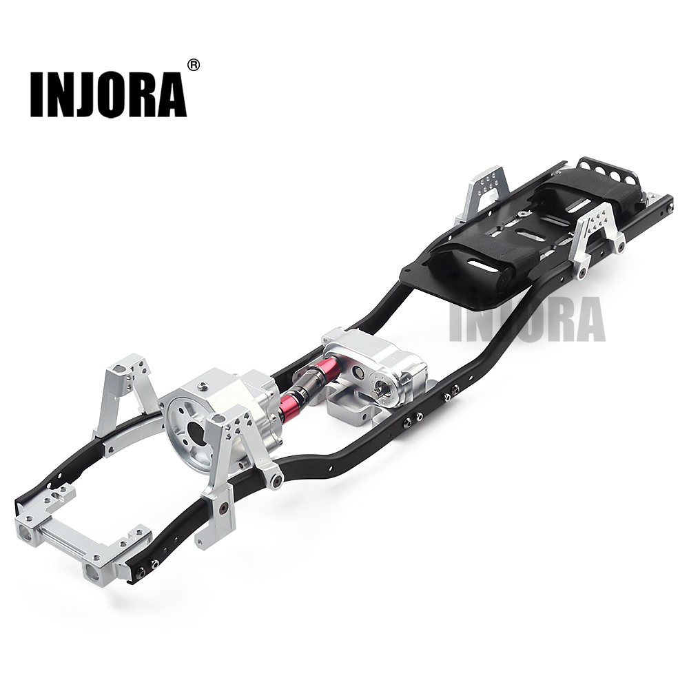 "INJORA 313mm 12.3"" Wheelbase Prefixal Gearbox Metal Chassis Frame For 1/10 RC Crawler Car Axial SCX10 & SCX10 II 90046"
