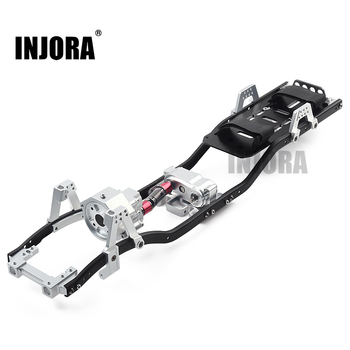 """INJORA 313mm 12.3"""" Wheelbase Prefixal Gearbox Metal Chassis Frame For 1/10 RC Crawler Car Axial SCX10 & SCX10 II 90046"""