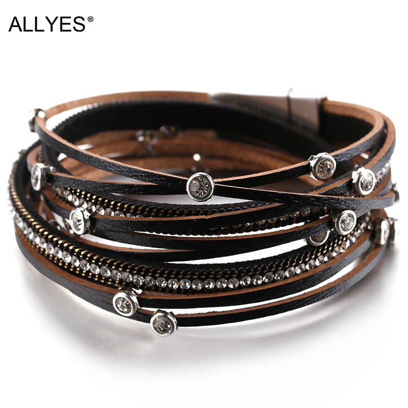 ALLYES Multiple Layers Crystal Charm Bracelet For Women Vintage Leather Bracelets & Bangle Femme Jewelry