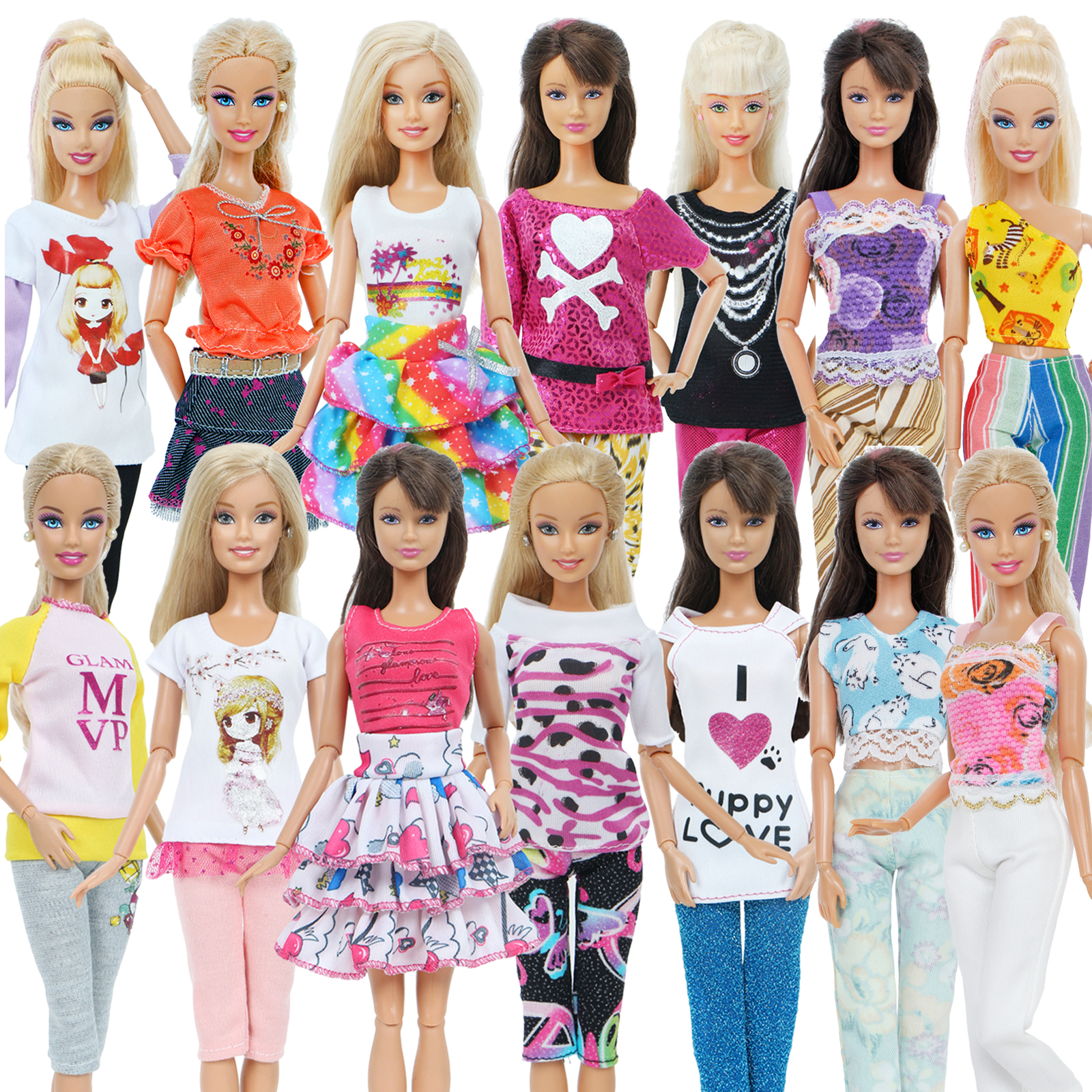 5 Sets Hangmade Mixed Style Outfits Mini Dress Blouse Pants Cute Skirts Tops Clothes For Barbie Doll Accessories Kids Toy