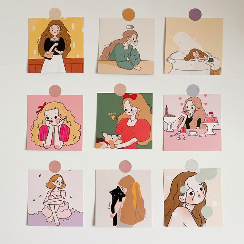 9 Pcs/pack Kawaii Girls Illustration Series Message Postcards Decorative Sticker Photograph Prop Card Korean Stationery Gifts