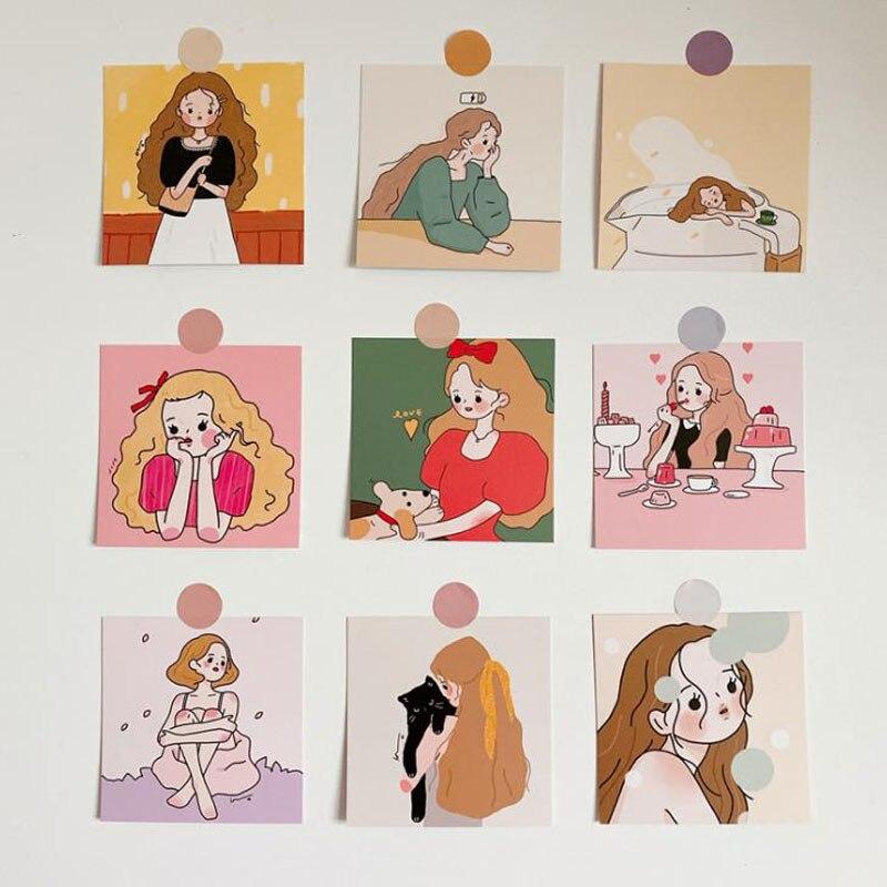 9 Pcs/pack Kawaii Girls Illustration Series Message Postcards Decorative Sticker Photograph Prop Card Korean Stationery Gifts