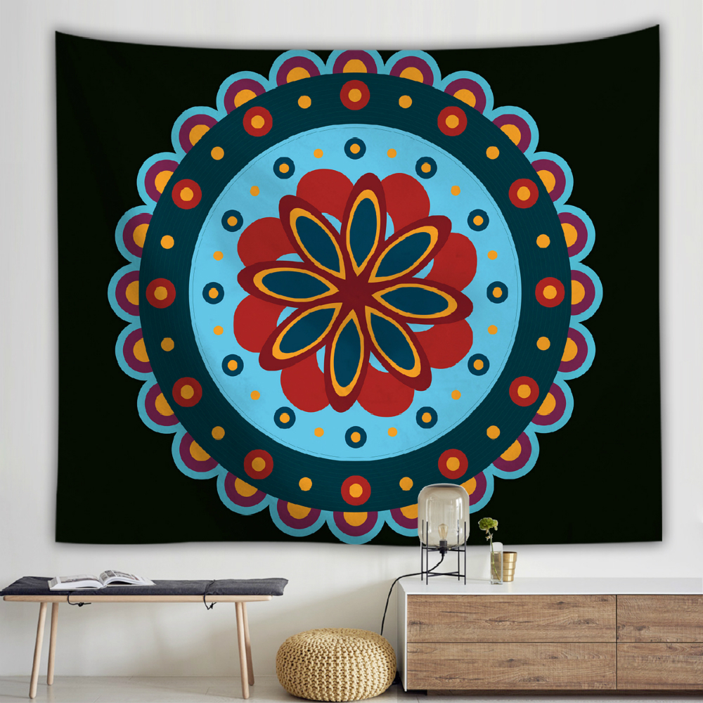 Indian Mandala Wall Cloth Tapestries Bohemian Flower Psychedelic Tapestry Wall Hanging Picnic Throw Rug Blanket Yoga Mat in Tapestry from Home Garden